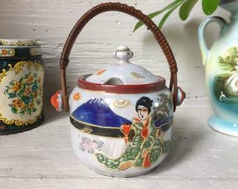 Japanese Porcelain Preserve Pot, jam pot, lusterware moriage Geisha girl, bamboo handle with lid