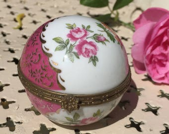Pink china round trinket box, hinged lid, jewellery holder, ring dish, Limoges style, flowers, pink, orange, yellow, gold