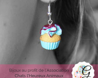 Earrings turquoise and Grout Cupcake chocolate