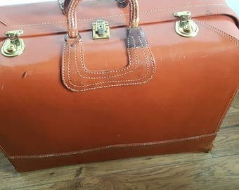 Vintage Tan leather Suitcase