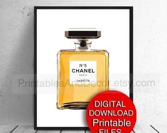 Printable Decor, Fashion Wall Art, Chanel Perfume Bottle Illustration No 5 Bottle 5x7 8x10 A4 11x14 A3 16x20 24x36