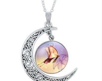 Silver chain glass cabochon necklace, Butterfly glass cabochon necklace, Cute silver plated cheap pendant necklace, Charming necklace I53