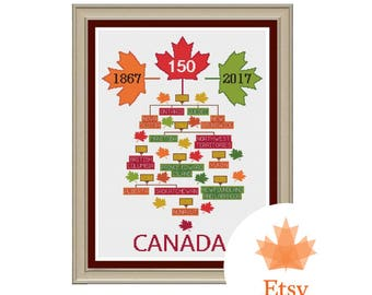 Canada 150 Years Family Tree Cross Stitch Pattern