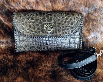 Grey Croc Convertible Bag
