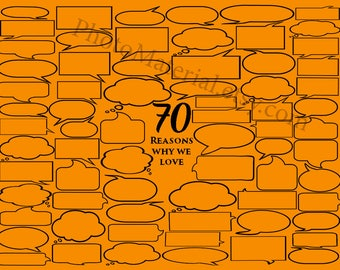 Personalized Birthday Gift 70 Reasons We Love You Digital Prints Download Printable art