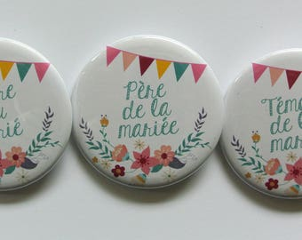 Bespoke wedding badges customizable theme flags and flowers