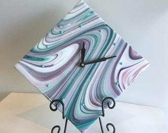 Wall Clock -White, Teal, Aqua, Pink, Purple Swirl Fused Glass