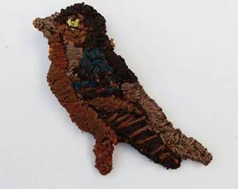 Brown bird brooch - handmade jewellery from my original design, embroidered by hand using vintage silk thread - wearable art