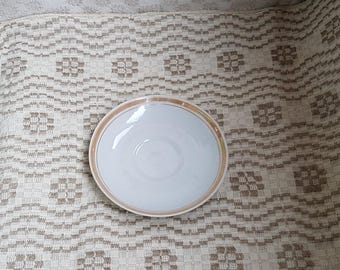 Vintage white saucer / plate with golden stripe in condition from porcelain / china / faience /ceramic