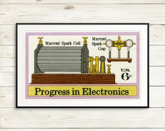 Large print: Electronics, Marconi, electronic engineer, engineer gifts, programmer gifts, Progress in Electronics, vintage art set, posters