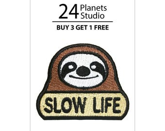 Sloth Slow Life Iron on Patch by 24PlanetsStudio