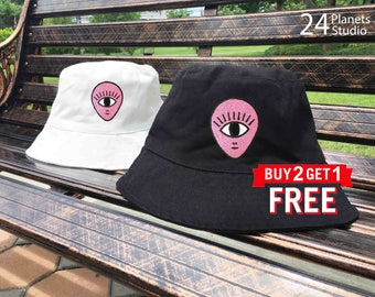 Alien Head - One Eye Embroidered Bucket Hat by 24PlanetsStudio