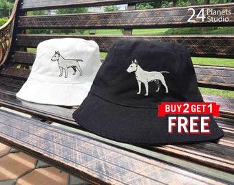 Bull Terrier Dog Embroidered Bucket Hat by 24PlanetsStudio