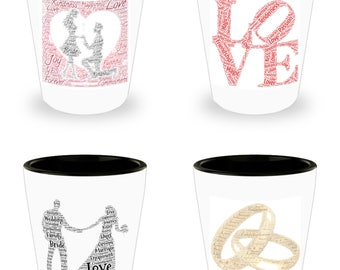 Celebrate an ENGAGEMENT or WEDDING with this Lovely Set of 4 White Ceramic Shot Glasses Make An Awesome gift!