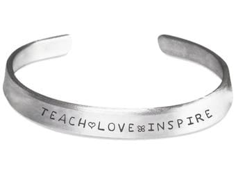 Bangle Cuff Bracelet TEACH LOVE INSPIRE! Birthday Christmas Lovely Silver-tone Bracelet Cuff is Stylish and 100% Made in the America!