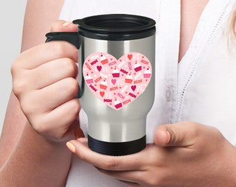 TRAVEL COFFEE MUG Hearts Love Cupcakes and Candy in Pinks and Reds Love on Stainless Steel Travel Coffee Mug With Lid