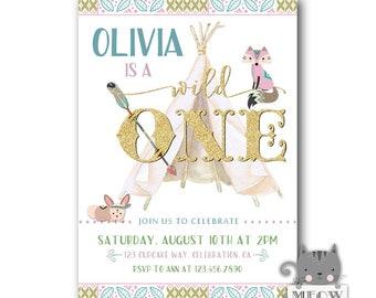 Wild One Birthday Invitation, Wild One invitations, Wild 1st Birthday Invitations, Girls Wild One Birthday Party Invites, Digital / Printed
