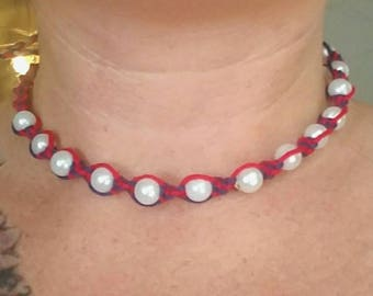 hemp necklace, hemp choker necklace, beach jewelry, hippie jewelry, macrame summer necklace, teen girl gifts, 4th of July, patriotic jewelry