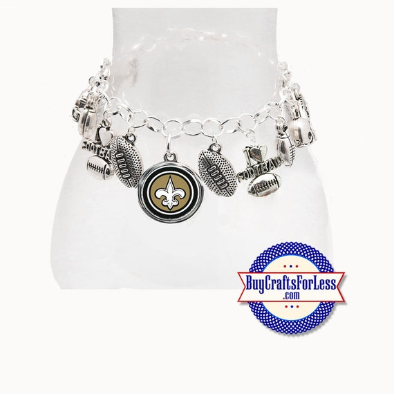 NeW ORLEANS Football CHARM Bracelet, Silver Plated  **FREE U.S. SHiPPiNG**