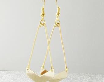 Chic champagne chevron earrings