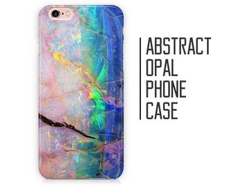 Abstract Opal Crystal Phone Case - Pink and Blue Opal Stone for iPhone X 8 Plus 7 6 6s 5 5s 5c SE + Samsung S6 S7 S8+