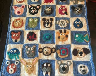Hand crochet animal zoo blanket.