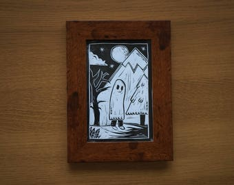 Framed A6 Lino Print - Happy Ghost