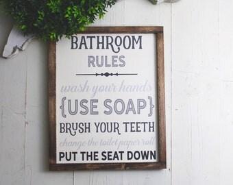 Bathroom Rules Sign | Bathroom Decor | Farmhouse Bathroom | Farmhouse Sign | Wood Sign | Bathroom Wall Decor