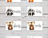 Printable Nursery Drawer Labels | Woodland Animals Drawer Labels | Woodland Animals Nursery Decor | Nursery Organizer | Baby Clothes Labels
