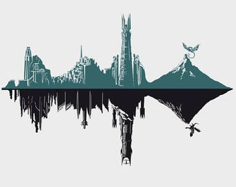 Middle-Hertz Duality Tee /  Lord of the Rings T-shirt  / Landscape Tee  / Soundwave / Middle Earth / Sauron / Free Shipping worldwide.