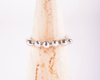 Organic Sterling Silver Ring With Beads, Sterling Silver