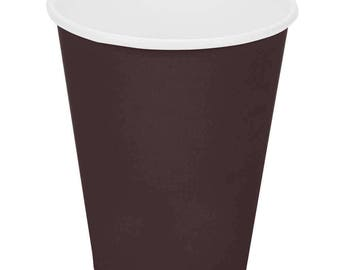 50 Ct Chocolate Brown Poly Paper Cups 9oz Hot/Cold, Party Supplies, Wedding Supplies, Party, Wedding, Paper Cups, Beverage Cups, Cups