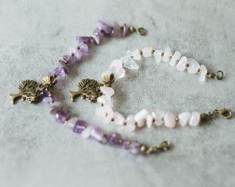 Amethyst and bronze charm bracelet