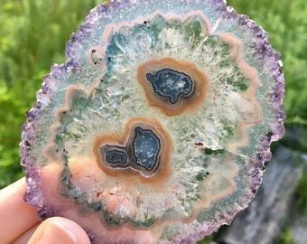 Amethyst and Green Agate Stalactite Slice