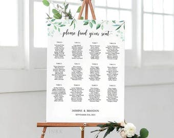 Rustic Wedding Seating Chart Template, Seating Chart Printable, Wedding Seating Plan, Editable Seating Chart PDF Instant Download #E031