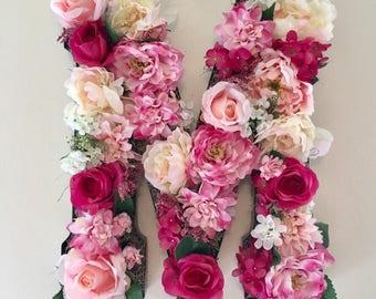 Nursery Decor, Vintage Floral Monogram, Nursery Monogram, Wedding Monogram, Rose Letter, Giant Letter, Metal Letter, Flower Letter