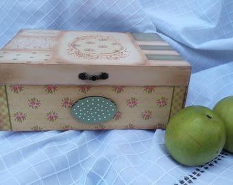 Decoupage Box wooden kitchen box tea box vintage box antique jewelry box Vintage Box handpainted box jewellery box Kitchen decor wooden box