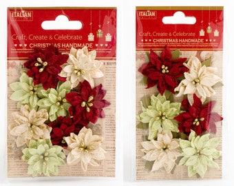 Poinsettias, Paper Poinsettias, Artifical Flower, Handcrafted Flower, Christmas Flower, Christmas Decor, Papercraft Flower, Favor Decoration