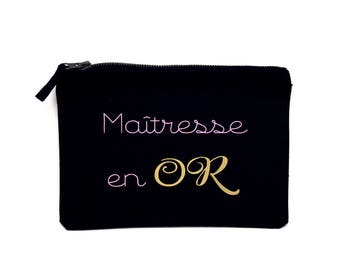 "Gift ""Gold Mistress"" pouch / cosmetic case personalized gift for year-end teacher with child's name"