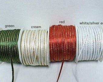 "Satin metallic edge ribbon, 1/8"" wide, 50 yards"
