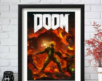 Doom Poster, Doom Art, Nintendo Printable, Doom 64, Mario Poster, Doom PC, Doom PS4, Doom 4, Video Game Art, Doom 64, Pinky, Doom 95