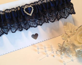 Wedding Garter, Navy blue, available in S/M & Plus size/Large