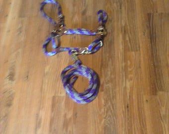 purple /silver lead rope and break away rope halter