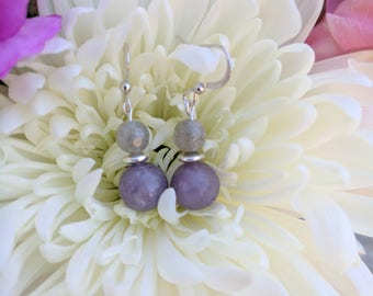Silver earrings with lilac and grey labradorite stone drops. Silver earrings. Lilac stone. Grey Labradorite.