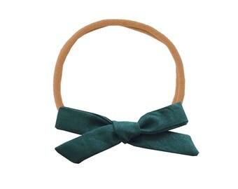 Schoolgirl Bow or Pigtail Set /// Hunter