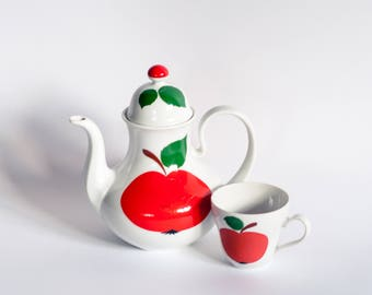 Apple Tea Pot, Bavaria Tea Pot, Seltmann Weiden Patricia Tea Pot, Retro Tea Pot, 70s Tea Pot, Cute Vintage Teapot, Apple Decor Coffee Pot,