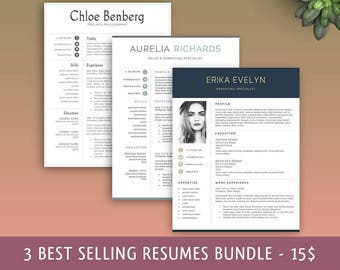 Resume Template 3 in 1. Instant Download. Professional Resume Template. Modern Resume Template, Professional CV Template. Resume Bundle