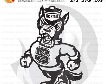 Digital SVG Cutting File, NCSU North Carolina State Wolfpack Logo, Wolf Only, College, Basketball, Football Raleigh, Svg, Png, Dxf, Eps file