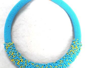 Maasai ornaments,bead jewelry,sky blue chocker,Thick chocker,mix chocker,blue necklace,maasai beadwork,maasai work