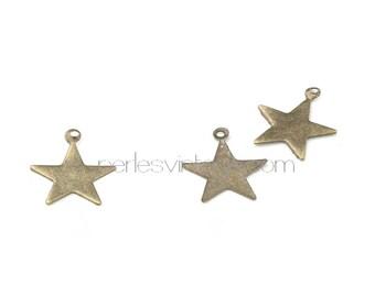 Set of 50 charms large stars bronze metal
